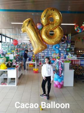 palloncini 18 anni numeroni elio olografici oro a