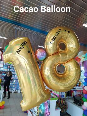 palloncini 18 anni numeroni elio olografici oro