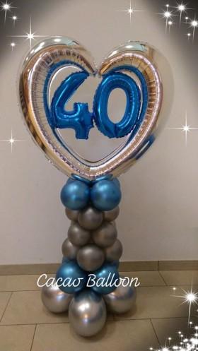 palloncini compleanno - 40 anni colonna con cuore