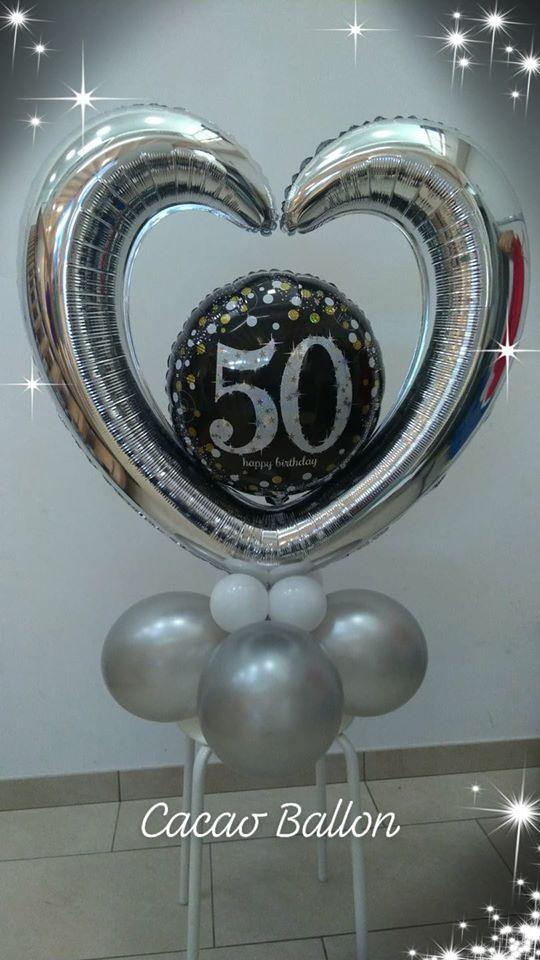 palloncini compleanno - 50 centro tavola a cuore