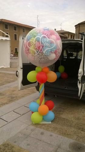 palloncini mongolfiera esplosiva matrimonio multicolor